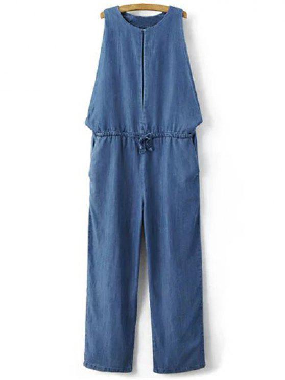 ladies Drop Armhole Denim Jumpsuit - BLUE M