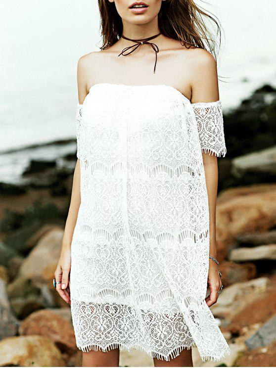 latest White Full Lace Off The Shoulder Dress - WHITE S