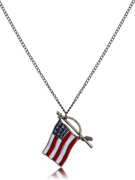 shops American Flag Oil Drip Necklace - BRONZE-COLORED