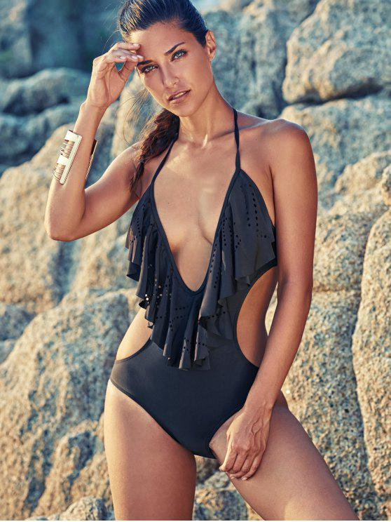 trendy One-Piece Flounce Swimsuit - BLACK L