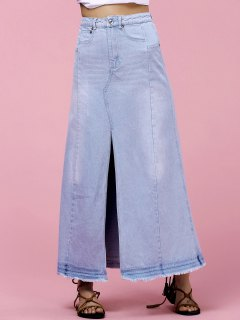 High-Waisted Pocket Design Denim Maxi Skirt With Slit - Light Blue M