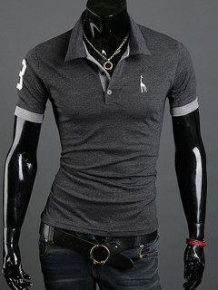 Turn-Down Collar Giraffe Embroidered Short Sleeve Polo T-Shirt For Men - Deep Gray M