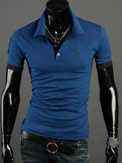 Turn-Down Collar Giraffe Embroidered Short Sleeve Polo T-Shirt For Men - Blue Xl