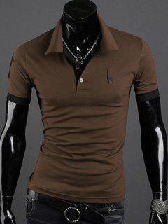Turn-Down Collar Giraffe Embroidered Short Sleeve Polo T-Shirt For Men - Coffee Xl
