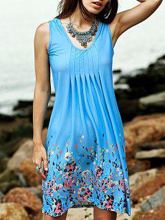Fitting Imprimé à Encolure Dégagée Robe Sans Manches - Bleu Clair S