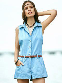 Letter Turn Down Collar Sleeveless Denim Romper - Light Blue S