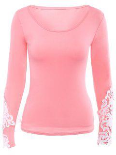 Splicing Scoop Neck Lace Ajouré T-shirt - Rose PÂle Xl