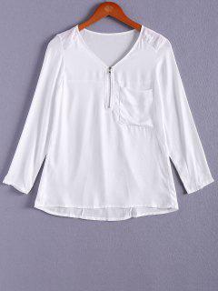 Color Sólido Con Cuello En V De La Cremallera De La Blusa - Blanco S