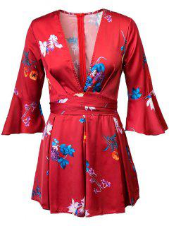 Floral Print Plunging Neck Flare Sleeve Romper - Red S