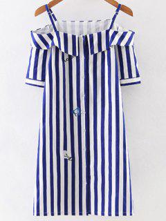 Off Shoulder Striped Dress - Blue And White M