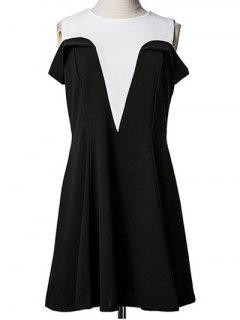 Spliced Cold Shoulder Faux Twinset Dress - Black M