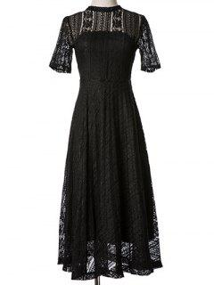 Lace Stand Neck Back Cut Out Midi Dress - Black S