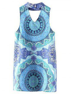Cut Out Stand Neck Sleeveless Printed Dress - Light Blue S