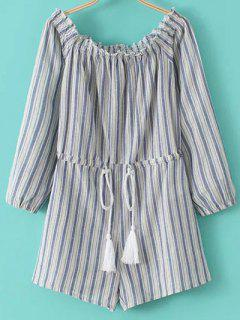 Cold Shoulder Striped Playsuit - Blue And White S