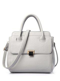 PU Leather Metallic Solid Colour Tote Bag - Light Gray