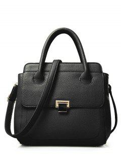 PU Leather Metallic Solid Colour Tote Bag - Black