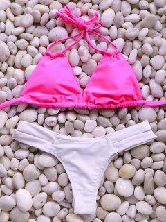 Spaghetti Straps Bandage Bikini Set - Rose S