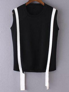 Knitted Round Neck Stripes Tank Top - Black