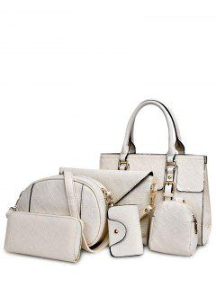 Checked Embossing Double Buckles Tote Bag - White