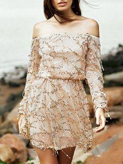 Sequins Off The Shoulder Long Sleeve Dress - Nude S