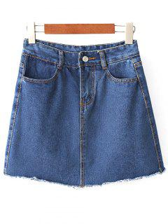 Solid Color High Waist A-Line Denim Skirt - Deep Blue L