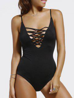 Black Cut Out Spaghetti Straps Swimwear - Black M