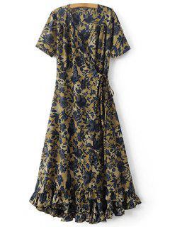 Flounce Ruffles Printed V Neck Short Sleeve Dress - Khaki M