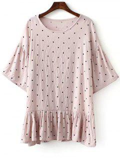 Loose Polka Dot Round Neck Bat-Wing Sleeve Dress - Pink