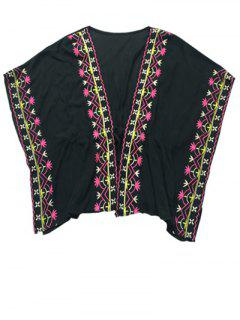 Embroidered Drawstring Cover Up - Black