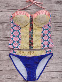 Geometric Printed Halter Bikini Set - S