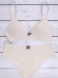 Laciness Bowknot Bra Set - Off-white 75b
