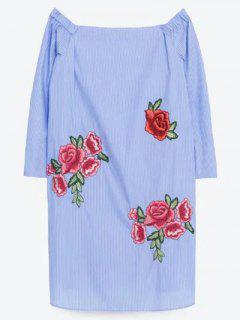 Floral Embroidery Off The Shoulder Long Sleeve Dress - Light Blue M