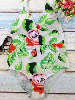 Fleur Imprimer Plongeant Neck Backless One Piece Maillots De Bain - Blanc S