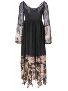 Plunging Neck See-Through Flower Printing Dress - Black Xl