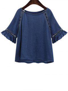 Hollow Out Butterfly Sleeve Solid Color T-Shirt - Deep Blue L