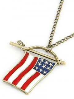 American Flag Pendant Long Necklace - Golden