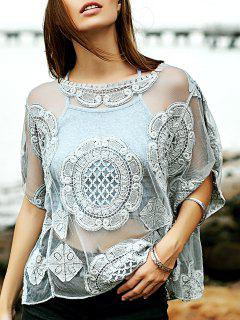 Embroidery Round Neck See-Through Cover Up - Gray