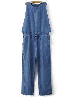 Drop Armhole Denim Jumpsuit - Blue S