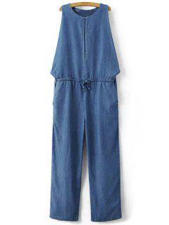 Goutte Emmanchure Denim Jumpsuit - Bleu S