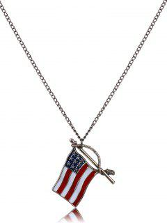American Flag Oil Drip Necklace - Bronze-colored