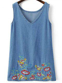 Sleeveless Embroidered Denim Dress - Blue S