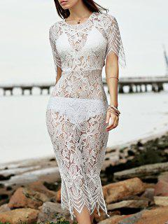 Full Lace Round Neck See-Through Dress - Off-white S