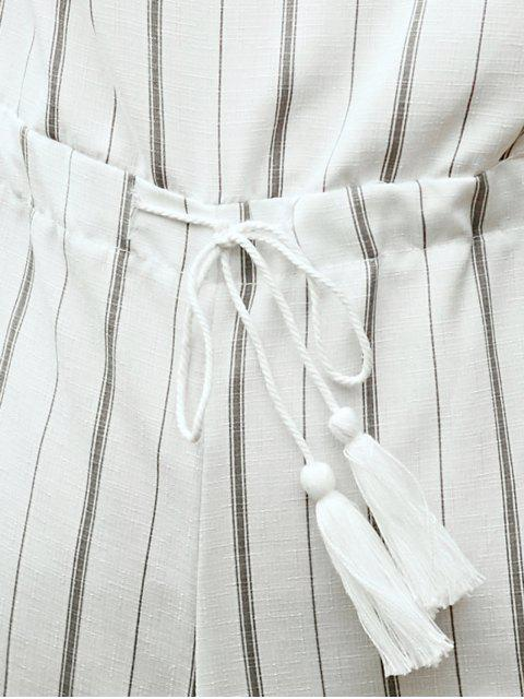 ladies Off The Shoulder Striped Romper - WHITE M Mobile