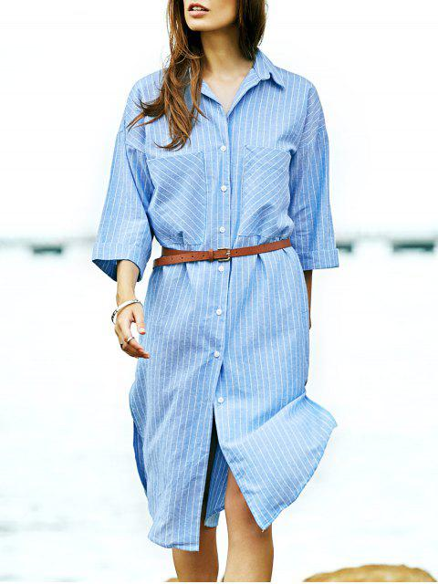 buy Stripe Turn Down Collar 3/4 Sleeve Shirt - LIGHT BLUE L Mobile