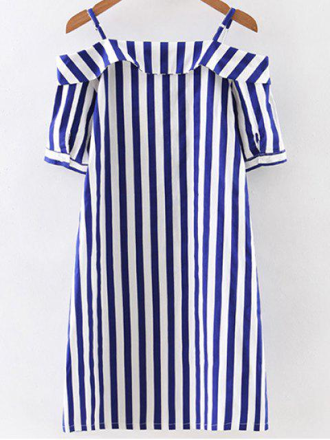 hot Off Shoulder Striped Dress - BLUE AND WHITE L Mobile