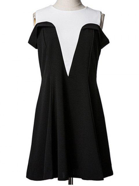 shop Spliced Cold Shoulder Faux Twinset Dress - BLACK M Mobile