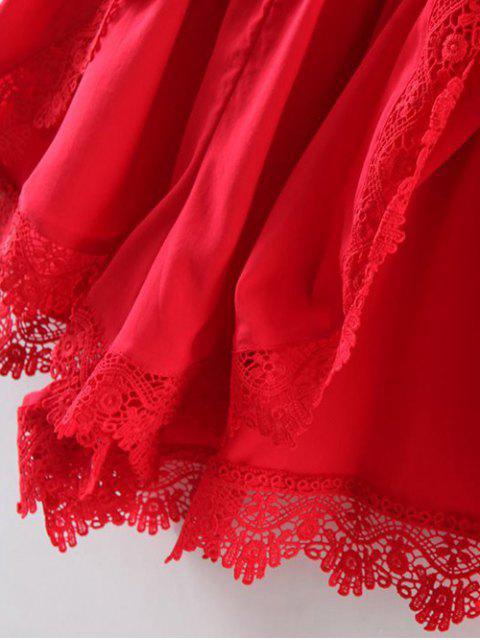 new Lace Spliced V-Neck Solid Color Romper - RED S Mobile
