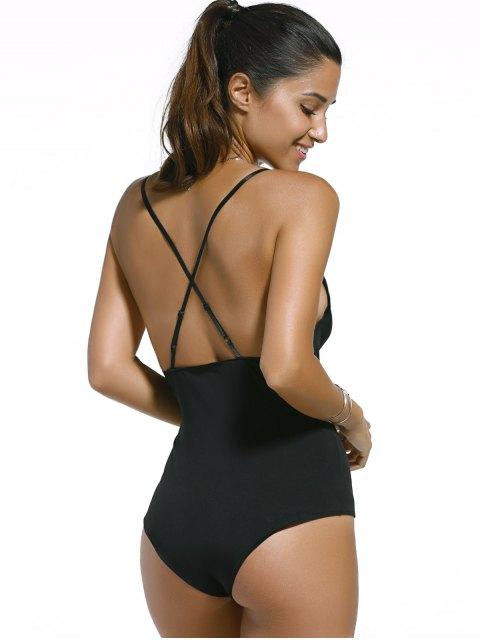 ladies Black Cut Out Spaghetti Straps Swimwear - BLACK S Mobile