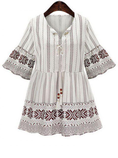 women's High Waisted Printed 3/4 Sleeve Dress - WHITE M Mobile