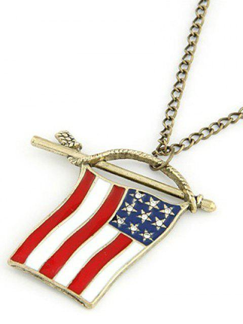 shop American Flag Pendant Long Necklace - GOLDEN  Mobile